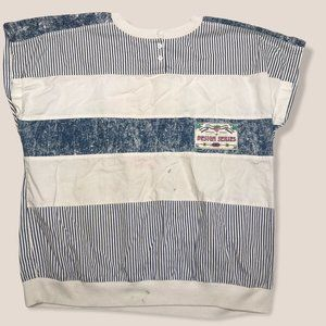 Vintage MS Tops Henley Top White Striped Knit 22W